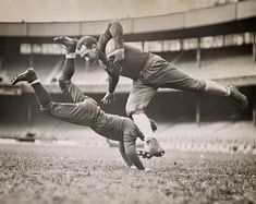Chicago Bears Grange and Zeller Tackle, 1935, Chicago Illinois #vintagephotos #artforwall #wallart #oldphotos #historicalphotos #blackandwhitepictures #blackandshitephotos #oldpictures #artforhome #history