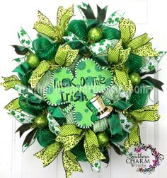 st patrick decorations deco mesh | Deco Mesh St Patrick's Day Wreath SLIM by SouthernCharmWreaths, $57.00