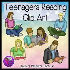 Teenagers reading clip art #ClipArtForTeachers #TpT #Reading #ClipArt #Teens https://www.instagram.com/teachersresourceforce/