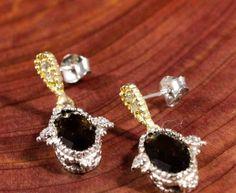 EARRINGS Vintage UNDER $20 Gemstone Sterling 925 Gold Smoky Topaz Dangles 1.1x.5 #Dangles