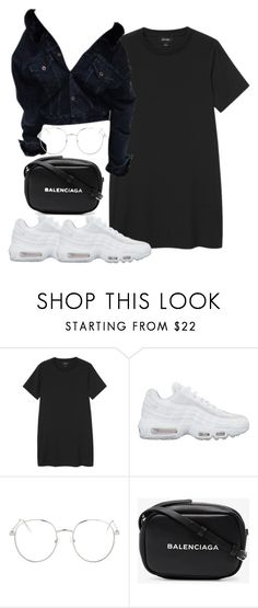 """""""Untitled #5653"""" by theeuropeancloset ❤ liked on Polyvore featuring Monki, NIKE, Topshop and Balenciaga"""