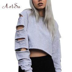 Artsu Long Sleeve Hole Autumn Hoodie Short Pullover Women Hoodies Sweatshirts Loose Midriff-baring Top Female Clothing ASHO10046