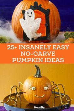 Discover ways to dress up Halloween's most popular prop without all the cleanup. Instead of wasting time taking out the seeds and guts, try these no-carve ideas that are just as festive. Up Halloween, Halloween Pumpkins, Halloween Crafts, A Pumpkin, Pumpkin Carving, Pumpkin Ideas, No Carve Pumpkin Decorating, Ladies Day, Fun Crafts