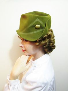 Vintage Hat: Olive Green Ladies Fedora Peck and Peck by FairSails, $46.00