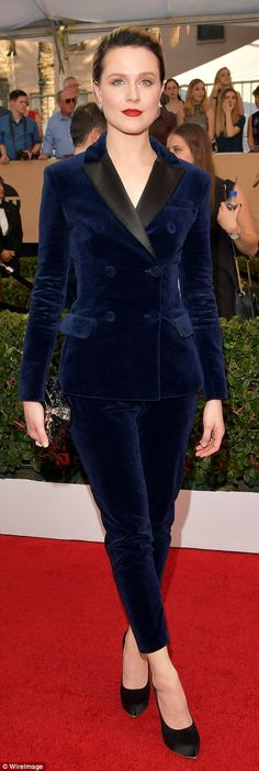 Blue velvet: Evan Rachel Wood in navy shades, wearing an Altuzarra suit