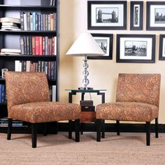 Mia Armless Accent Chairs Paisley Pattern Set Of 2 Model No 340C2