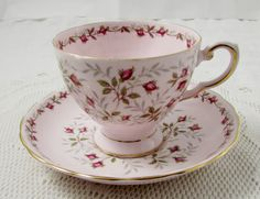 """Vintage Tuscan Pink Tea Cup and Saucer with Pink Roses, """"Charmaine"""", Fine English Bone China"""