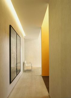 Cove lighting from entrance leading into living area by Marc Corbiau Cove Lighting, Indirect Lighting, Hallway Lighting, Lighting Design, Hallway Ceiling, Lighting System, Interior Lighting, Warm And Cool Colors, Energy Efficient Lighting