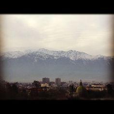 Já com saudade!!! Vista matinal! #chile#andes #cordilheira#santiago#viajar#neve