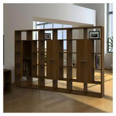 pine timber wooden room divider bookcase display unit | room