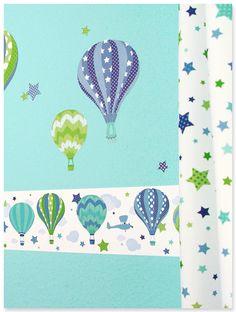 Heißluftballons Boys blau/grün: Selbstklebende Bordüre, Wandsticker, Sternchenstoff