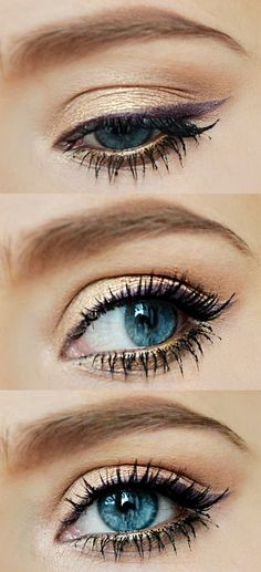 Amazing look for redheads: purple winged eyeliner and gold shadow!  To get the look try Redhead Revolution�019s calypso eyeliner and 24k eyeshadow. makeup-for-redheads