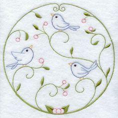 Um projeto rápida máquina de bordar círculo ponto com pássaros.