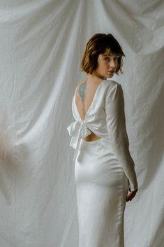 Mina Tea Length Silk Satin Dress  Long Sleeves Simple Silk Satin Dress  Open Back Satin Midi Pencil Dress
