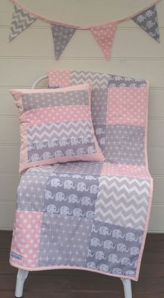 Pink and Grey Elephants Patchwork Cot / Crib Quilt with Cushion Cover & Bunting Flags Available by Danoah on Etsy https://www.etsy.com/listing/212351437/pink-and-grey-elephants-patchwork-cot: