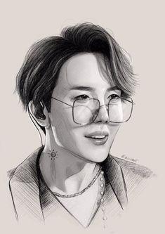 Kpop Drawings, Art Drawings Sketches Simple, Pencil Art Drawings, Realistic Drawings, Pencil Sketching, Drawing Faces, Drawing Tips, Jhope, Bts Jimin