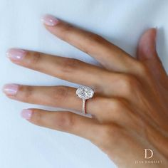 MARGARET, custom oval diamond engagement ring with rose gold and platinum, handcrafted by Jean Dousset. Diamond is 5.00+ carats D IF type IIa oval. #love #EngagementRings #wedding #custom #jeandousset
