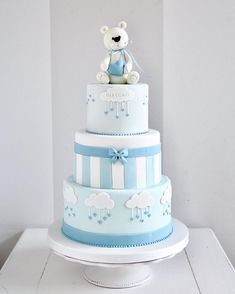 Teddy Bear Birthday Cake, Toddler Birthday Cakes, Boys First Birthday Cake, Teddy Bear Cakes, Baby Shower Deco, Baby Shower Cakes For Boys, Baby Boy Cakes, Baby Boy Shower, Bolo Mickey Baby