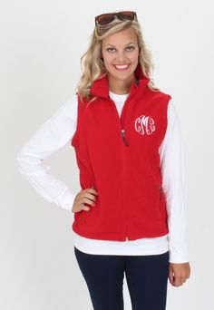 Monogrammed Red Fleece Vest - Marleylilly.com