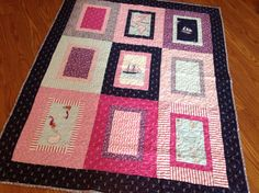 Out to Sea baby or toddler  quilt -- pink, navy blue, purple, white -- pirate ship, map, anchor, whale, nautical on Etsy, $160.00