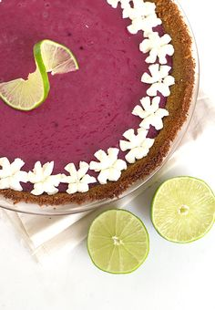 Blackberry Key Lime Pie - Sweet and Tart Twist on a classic Key Lime Pie. It's creamy and gorgeous to look at.