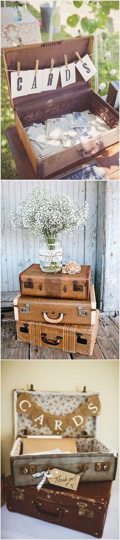 suitcase inspired vintage wedding ideas #vintagewedding #weddingdecor #weddingideas