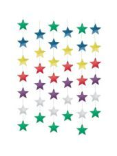 Multi Color Star String Decorations 7ft 6ct-Party City