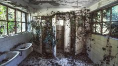An abandoned Red Cross Hospital is seen in the Northern region of Italy