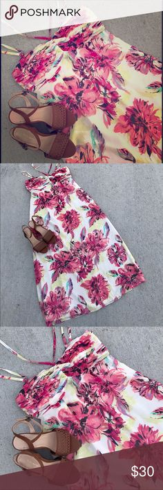 {Lauren Conrad} Maxi Dress The color combination on this watercolor dress is perfect for summer! Beautiful, feminine, floral, light and flowy Lauren Conrad maxi dress in size 12 and perfect condition. Ruching layered look on lightly padded top. Hidden side zipper. Has traditional shoulder straps that can be worn with the halter tie or removed. 100% polyester dress and lining. LC Lauren Conrad Dresses Maxi