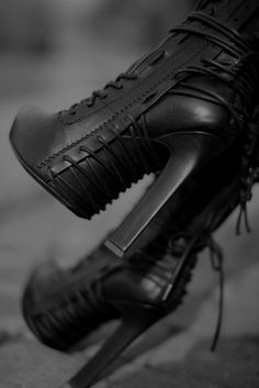 Haider Ackermann boots/Badass lace-up detailed black Boots! I wish the heel was a stiletto but I still love them as is. Bootie Boots, Shoe Boots, Shoe Bag, Heel Boot, Ankle Booties, Ugg Boots, Goth Boots, Dark Fashion, Fashion Shoes