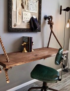 New wood desk table shelves ideas Comfy Accent Chairs, Furniture For Small Spaces, Decor, Shelves, Wood Interior Design, Diy Wood Shelves, Table Shelves, Home Decor, Wood Desk