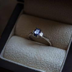 Sapphire & Diamond Engagement Ring – Moira Patience Fine Jewellery Trilogy Engagement Ring, Sapphire Diamond Engagement, Baguette Diamond, Fine Jewelry, Jewellery, Diamond Jewelry, Wedding Rings, Patience, Earrings