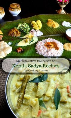 The Sadya or a feast, that is typical of the state of Kerala in Southern India aptly named God's own Country, is served to celebrate anything from a birthday to a festival to a wedding, is the single most awe inspiring vegetarian far Curry Recipes, Vegan Recipes, Cooking Recipes, Delicious Recipes, Amazing Recipes, Vegan Food, Easy Recipes, Indian Food Recipes, Kerala Recipes
