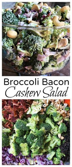 Crowd-pleasing potluck and summer salad Broccoli Bacon Cashew Salad Recipe is made witha delicious sweet dressing. via Reluctant Entertainer Chicken Salad Recipes, Easy Salads, Healthy Salad Recipes, Summer Salads, Diet Recipes, Jar Recipes, Healthy Chicken, Recipies, Easy Meals