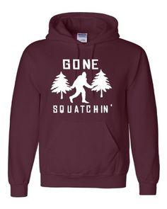 Adult Maroon Gone Squatchin' Sasquatch Bigfoot Hooded Sweatshirt