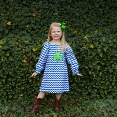 Blue Chevron Shamrock Debbie Dressl......love the blue and green