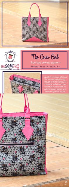 The Cover Girl - FREE bag sewing pattern for a large size tote bag. Great gift to sew!