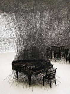 """Thread Art Installation by Japanese Artist Chiharu Shiota in Pitssburgh, PA. Land Art, String Installation, Art Installations, Illusion Kunst, Art Fil, Instalation Art, Art Sculpture, Metal Sculptures, Abstract Sculpture"