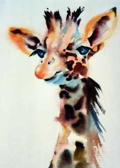 "My original title for this painting was ""Goofus"".  Later I became so fond of the giraffes at the zoo that I changed the title to the more respectful ""People Watching""."