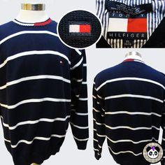 Vtg 90s Tommy Hilfiger Stripe Flag Logo Sweater Sz XL Cotton Mens Navy Blue #TommyHilfiger #Crewneck #stripe #sweater #sweaterweather #90s #prep #preppy #hiphop #streetwear