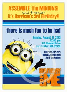 "Despicable Me Minion Birthday Invitation - Beautiful custom cards as low as $1.15 - Planning your child's birthday party can be so much fun! It can also be stressful and frustrating...finding products to match, going store to store, etc. Let Amy'sCardCreations make it EASY for you to wow your guests. I'll create your personalized invitations, thank you notes, party favors & decor to match your theme & specifications. ""Create your own Party Pack"" Discount Coupon Code to save 15%"