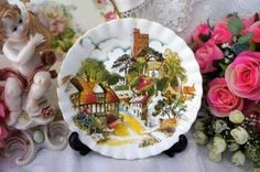 belo e raro pratinho royal albert vilarejo