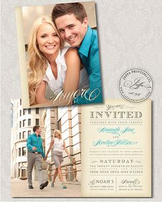 Love the colors n usage  Vintage Photo Wedding Invitation and poses