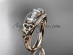 14kt rose gold diamond celtic trinity knot wedding ring, three stone engagement ring CT7203