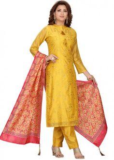 #yellow #embroidered #readymade #salwar #kameez #traditional #indian #salwar #suit #indianfashion #party #wear #collection #eid #2021 #ootd Readymade Salwar Kameez, Chanderi Suits, Straight Cut Pants, Latest Designer Sarees, Yellow Fabric, Color Yellow, Silk Dupatta, Silk Pants, Pakistani Suits