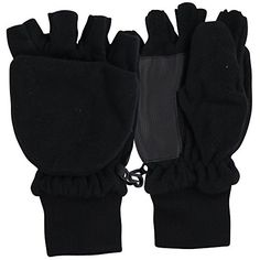 Women's Fleece Fingerless Gloves / Convertible Mittens Black Large - http://todays-shopping.xyz/2016/07/21/womens-fleece-fingerless-gloves-convertible-mittens-black-large/