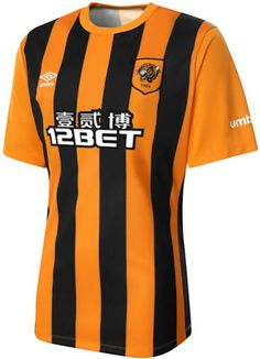 New Umbro Hull City Kits unveiled. The Hull Home Shirt is orange with black stripes, while the new Umbro Hull City Away Kit is black with orange accents. The new Hull City Third Kit is white with black and sky blue elements. Football Uniforms, Football Kits, Football Soccer, Soccer Jerseys, Club Soccer, Hull City Fc, Top League, Premier League Teams, British Football