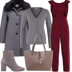 La jumpsuit bordeaux viene proposta abbinata a capi in grigio  il cardigan 60c6aa0fad7
