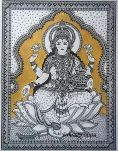 This is a fine art print of the original drawing done by me. The original drawing of this print was done using pens and acrylic paints. Made of intricate patterns and designs was mainly inspired by Kalamkari art style. <> This print of Goddess Lakshmi is