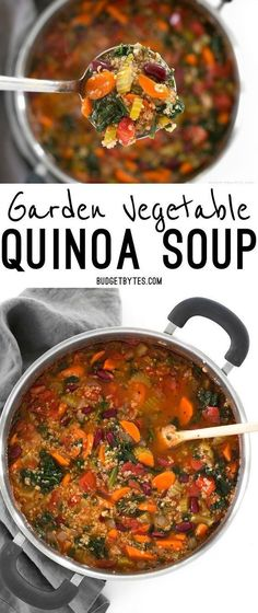 Garden Vegetable Quinoa Soup is a low calorie, high fiber, flavor packed meal perfect for your weekend meal prep. #souprecipes #vegetarianrecipes #vegetarian #quinoa #quinoarecipe #vegetablesoup #mealprep
